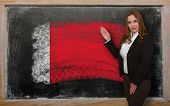 Teacher Showing Flag Ofbahrain On Blackboard For Presentation Marketing And Tourist Advertising