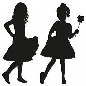 stock photo of kiddie  - Silhouettes of two girls  - JPG