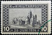 stamp in memory of the assassination of Franz Ferdinand Archduke of Austria on June 28 1914