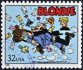 A stamp printed in USA dedicated to comic strip classics shows Blondie