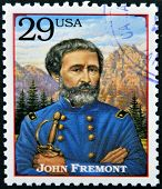 Stamp printed in USA shows portrait of the John Fremont