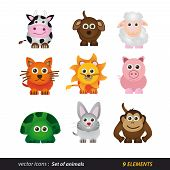 Set of animals. Cartoon and vector isolated