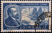 POLAND - CIRCA 1957: A stamp printed in Poland shows Josef Korzeniowski Conrad circa 1957