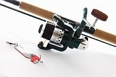 picture of fly rod  - fishing tackles sport fishing equipment on white - JPG