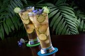 stock photo of borage  - Two glasses of ginger and cucumber iced tea garnished with borage flowers on a table in a restaurant on a tropical beach - JPG