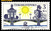 Vintage  Postage Stamp. Cvatopluk Cech Bridge. Prague.