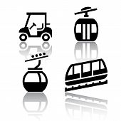 foto of ropeway  - Set of transport icons  - JPG