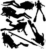 stock photo of flipper  - Scuba diver and speargun vector silhouettes - JPG