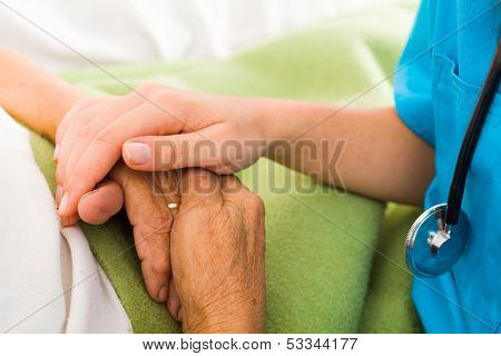 Nurses Helping Elderly poster