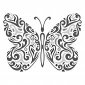 stock photo of mehndi  - Vector illustration of Abstract mehndi tattoo butterfly - JPG