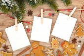 picture of candy cane border  - Blank christmas photo frames with fir tree and gingerbread cookies - JPG