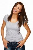 stock photo of long tongue  - Young positive brunette girl with long hair showing tongue - JPG