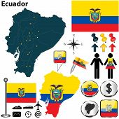 picture of guayaquil  - Vector of Ecuador set with detailed country shape with region borders flags and icons - JPG