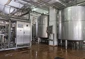 stock photo of production  - Industrial Tetrapak Sterilised Dairy Food Production Plant - JPG