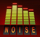 foto of noise pollution  - Illustration depicting graphic equalizer levels with a noise concept - JPG