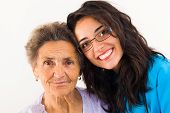 pic of grandmother  - Loving family member doctor caring about elderly grandmother - JPG