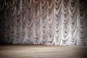 stock photo of stage decoration  - An empty theatrical stage background with white curtain