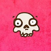 Cartoon Skeleton Skull with Mustache. Cute Hand Drawn Vector illustration, Vintage Paper Texture Bac