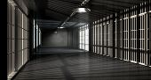 foto of lockups  - A corridor in a prison at night showing jail cells illuminted by various ominous lights - JPG