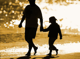 image of father child  - on the seashore - JPG