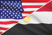 Series Of Ruffled Flags. Usa And Arab Republic Of Egypt.