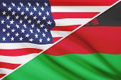Series Of Ruffled Flags. Usa And Republic Of Malawi.