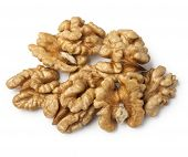 picture of walnut  - walnut half heap on white background - JPG