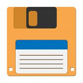 Illustration floppy disc icon for computer data storage. Vector.