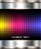 Abstract background, metallic with rainbow dots pattern, vector illustration.