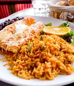 Enchilada with tomato rice, a mexican recipe