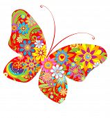 Abstract flowers butterfly. Raster copy
