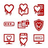 Information technology security icons. Heartbleed software bug icons