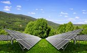 Spring landscape with solar energy panels