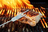 Grilled Pork Striploin, Fork And Bbq Flames,  Xxxl