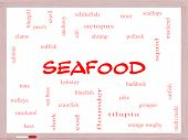 picture of bluegill  - Seafood Word Cloud Concept on a Whiteboard with great terms such as lobster haddock shrimp and more - JPG