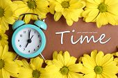 Alarm clock and beautiful flowers on brown background