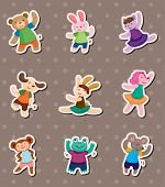 stock photo of parti poodle  - Animal Dance Stickers - JPG