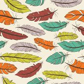 image of dainty  - Seamless pattern of colorful bird feathers in a random arrangement and square format - JPG