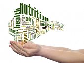Concept or conceptual abstract nutrition and health word cloud with a hand on touch screen on white
