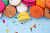 Colorful french macaroons, close-up.