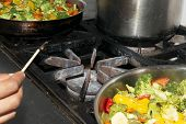 Lighting Gas Stove To Stir Fry Vegetables