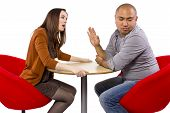 image of rude  - rude interracial couple on a bad date - JPG