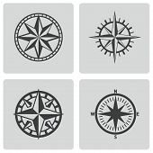 picture of nautical equipment  - Vector black compass icons set on white background - JPG