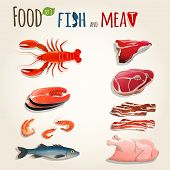 stock photo of bacon  - Food fish and meat decorative elements collection of chicken shrimp bacon vector illustration - JPG