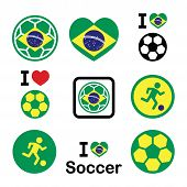 Brazilian flag, football or soccer ball icons set