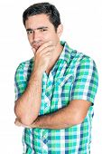 stock photo of inquisition  - Curious hispanic man doing an inquisitive  gesture isolated on white - JPG