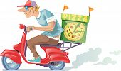 picture of scooter  - The pizza delivery boy in a baseball cap is riding the retro scooter - JPG