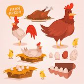 Chicken farm. Retro style vector elements.