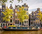 Buildings on canal in Amsterdam, Netherlands