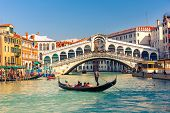 stock photo of bridges  - Gondola near Rialto Bridge in Venice - JPG